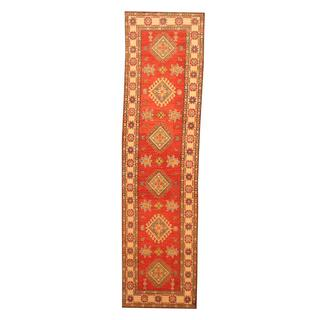 Herat Oriental Afghan Hand-knotted Tribal Kazak Red/ Ivory Wool Rug (2'7 x 9'10)