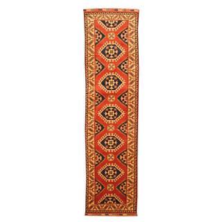 Herat Oriental Afghan Hand-knotted Tribal Kazak Red/ Ivory Wool Rug (2'6 x 9'6)
