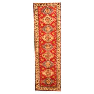 Herat Oriental Afghan Hand-knotted Tribal Kazak Red/ Ivory Wool Rug (2'9 x 9'2)
