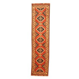 Herat Oriental Afghan Hand-knotted Tribal Kazak Red/ Ivory Wool Rug (2'5 x 9'7)
