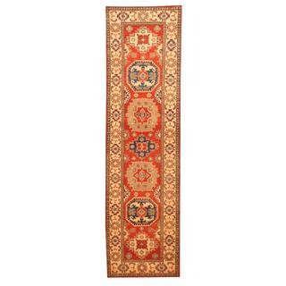Herat Oriental Afghan Hand-knotted Tribal Kazak Red/ Ivory Wool Rug (2'8 x 9'7)