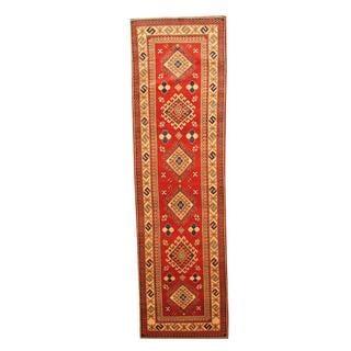 Herat Oriental Afghan Hand-knotted Tribal Kazak Red/ Ivory Wool Rug (2'9 x 9'8)