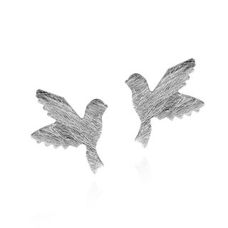 Doting Birds in Flight Textured .925 Silver Stud Earrings (Thailand)