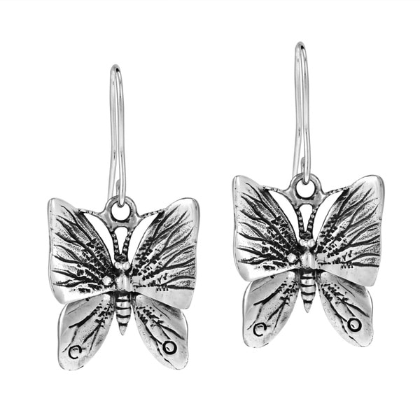 Moveable Fluttering Wings Butterfly .925 Silver Earrings (Thailand)