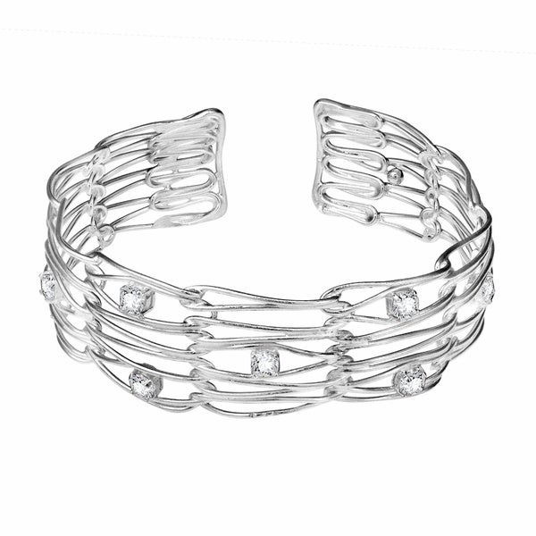 Wire Wrap White CZ Embellished .925 Sterling Silver Cuff (Thailand)