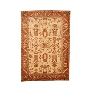 Herat Oriental Afghan Hand-knotted Vegetable Dye Oushak Ivory/ Rust Wool Area Rug (6'2 x 8'9)
