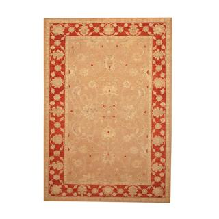 Herat Oriental Afghan Hand-knotted Vegetable Dye Ousha Beige/ Red Wool Rug (6'4 x 9'2)