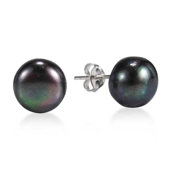Elegant Round Black Pearl Sterling Silver Stud Earrings (Thailand)