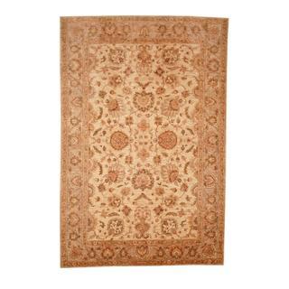 Herat Oriental Afghan Hand-knotted Vegetable Dye Ousha Ivory/ Beige Wool Rug (6' x 8'9)