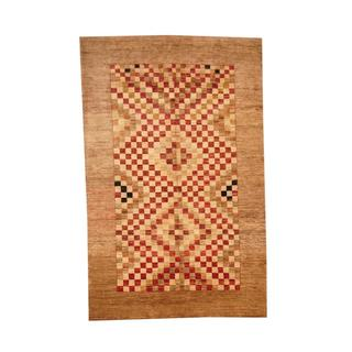 Herat Oriental Afghan Hand-knotted Vegetable Dye Oushak Brown/ Red Wool Area Rug (5'10 x 9'1)