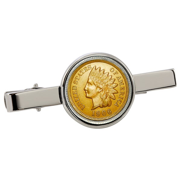 American Coin Treasures Gold-Layered Indian Penny Silvertone Tie Clip