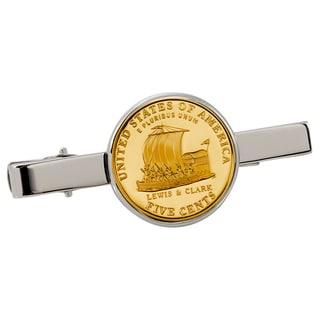American Coin Treasures Gold-Plated Westward Journey Keelboat Nickel Silvertone Tie Clip