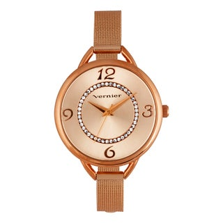Vernier Women's V11193RG Mesh Bracelet Crystal Accent Watch