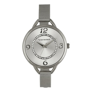 Vernier Women's V11193SS Thin Mesh Bracelet Crystal Dial Watch