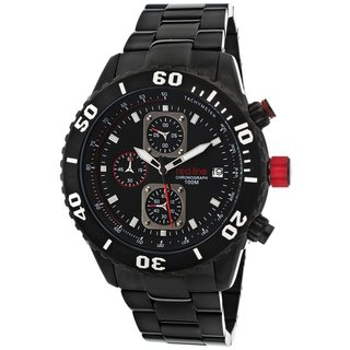 Red Line Simulator Ion-plated Stainless Steel Black Chronograph Watch