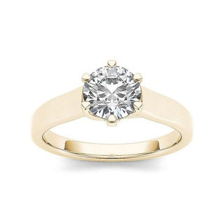 De Couer 14k Yellow Gold 1ct TDW Diamond Solitaire Engagement Ring (H-I, I2)