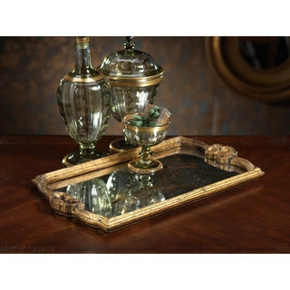 Rectangular Serving Tray with Antique Gold Mirror