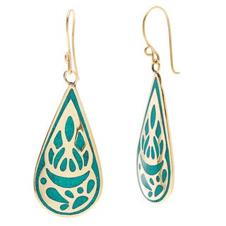 Turquoise and Goldtone Inlaid Teardrop Earrings (Nepal)