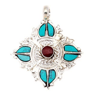 Turquoise and Coral-look Bajra Pendant (Nepal)