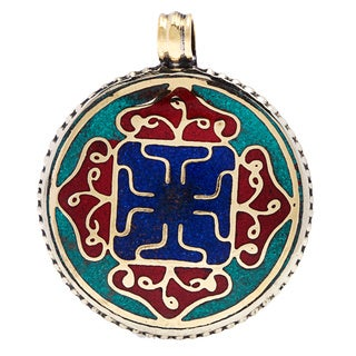 Enameled Circle and Cross Design Pendant (Nepal)