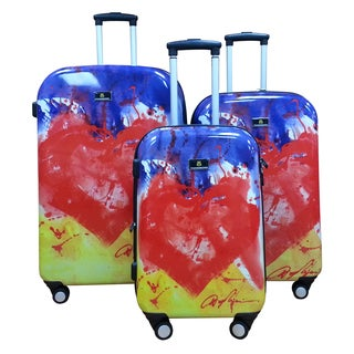 Dominic Pangborn Heart 3-piece Polycarbonate Hardside Spinner Luggage Set