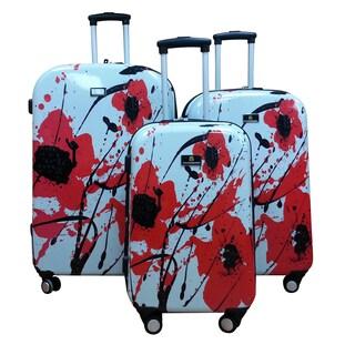 Jourdan Travelware Dominic Pangborn Flower 3-piece Polycarbonate Hardside Spinner Luggage Set