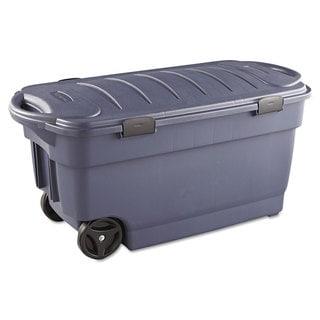 Rubbermaid Roughneck Wheeled 45-gallon Dark Indigo Metallic Storage Box