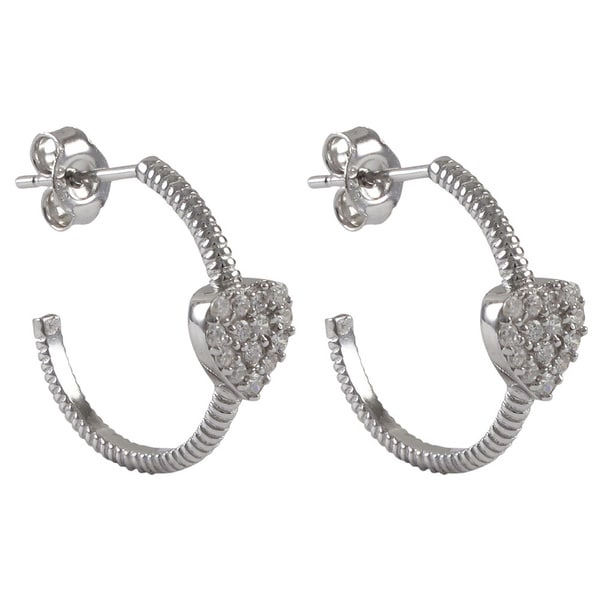 Sterling Silver Gold Finish Pave CZ Heart endless Hoop Girls and Teens Earrings