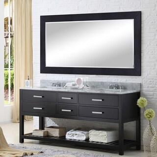 Water Creation Madalyn 60-inch Espresso Double Sink Bathroom Vanity with Matching Framed Mirror