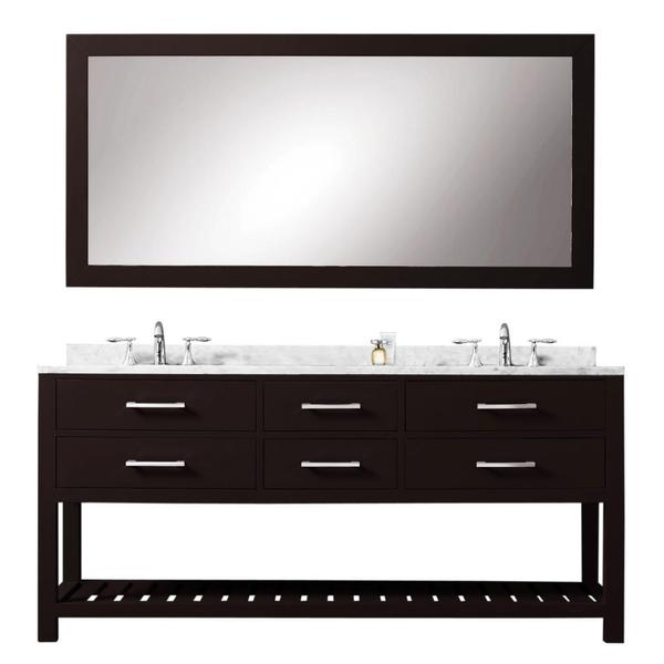Water creation madalyn 60 inch espresso double sink for 60 inch framed mirror