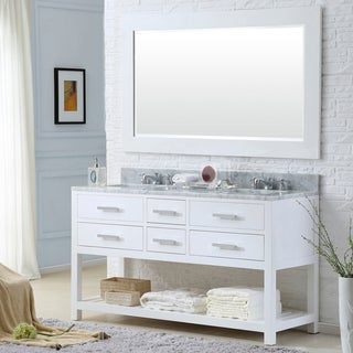 Water Creation Madalyn 60-inch Solid White Double Sink Bathroom Vanity with Framed Mirror