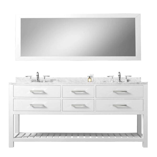 Water creation madalyn 60 inch solid white double sink for 60 inch framed mirror