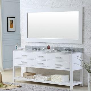 Water Creation Madalyn 72-inch Solid White Double Sink Bathroom Vanity