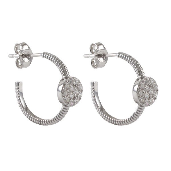 Sterling Silver Gold Finish Pave CZ Huggy Hoop Girls and Teens Earrings