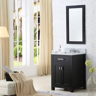 Water Creation Madison 24-inch Espresso Single Sink Bathroom Vanity with Framed Mirror