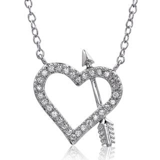 Bridal Symphony Sterling Silver 1/6ct TDW White Diamond Heart Arrow Pendant Necklace (I-J, I2-I3)