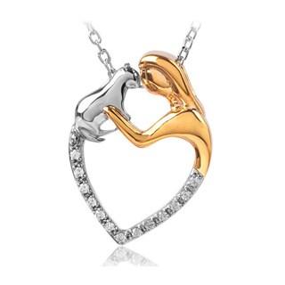 Bridal Symphony 10k Yellow Gold Stainless Steel 1/10ct TDW White Diamond Pendant Necklace (I-J, I2-I3)