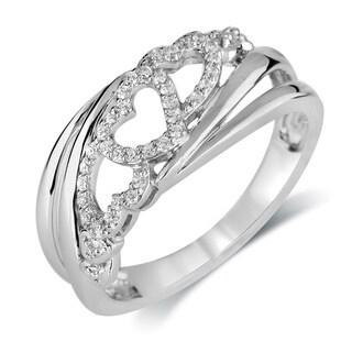 Bridal Symphany Sterling Silver 1/7ct TDW Diamond Heart Fashion Ring (I-J, I2-I3)