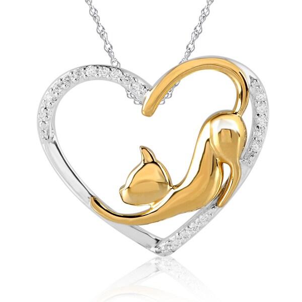 Bridal Symphony 10k Yellow Gold Stainless Steel 1/10ct White Diamond Cat Pendant Necklace (I-J, I2-I3)