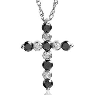 Bridal Symphony Sterling Silver 1/3ct TDW Black and White Diamond Cross Pendant Necklace (I-J, I2-I3)