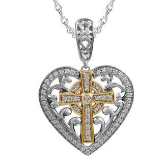Bridal Symphony Two-tone Sterling Silver 1/4ct TDW White Diamond Heart Cross Pendant Necklace (I-J, I2-I3)