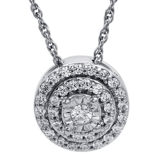 Bridal Symphony Sterling Silver 1/4ct TDW Round-cut Diamond Double Halo Pendant Necklace (I-J, I2-I3)