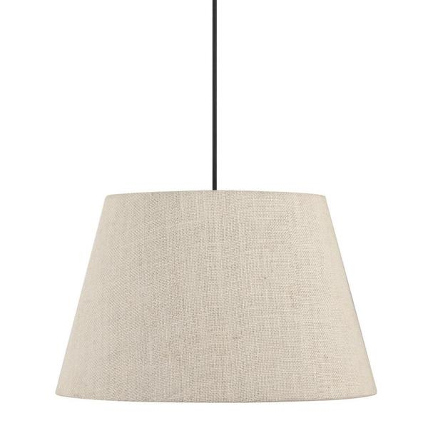 Traditional 1-light Pendant in Dark Bronze with Beige shade
