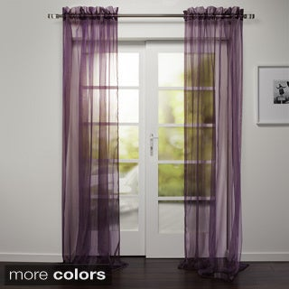 Kara Collection Sheer Rod Pocket 95-inch Curtain Panel