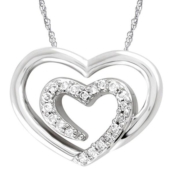 Bridal Symphony 14kWhite Gold 1/10ct TDW Diamond Heart Pendant