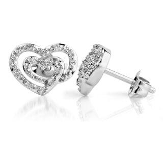 Bridal Symphony 14kWhite Gold 1/10ct TDW Diamond Heart Stud Earrings