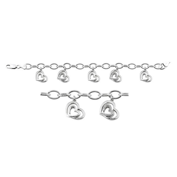 Bridal Symphony Sterling Silver 1/5ct TDW Diamond Heart Pendant Bracelet