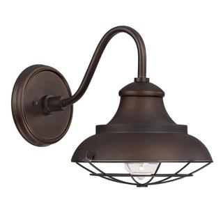 barn style 1 light outdoor wall mount in burnished bronze