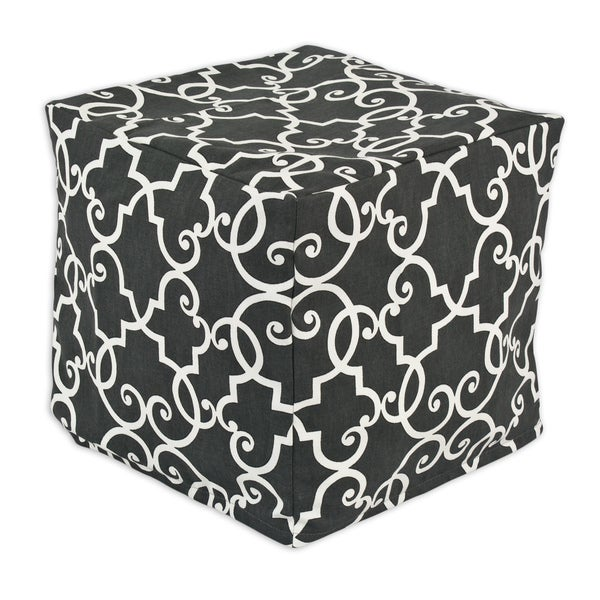Woburn Slate Zippered Beads Pouf