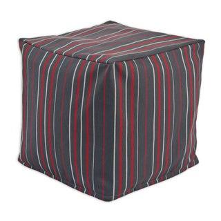 Chooty Multi-stripe Charcoal KE Zippered Beaded Pouf